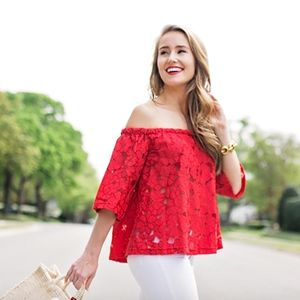 Red off the shoulder lace top Jack by BB Dakota